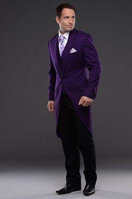 2019 Tailcoat Purple Bridegroom Groom Tuxedos Best Men Formal Wedding Prom