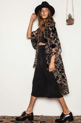 NWT Flynn Skye Stevie Kimono Wrap Top Burnout Velvet Floral Black S Rare $187 - Burnout Wrap Top