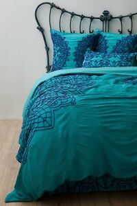 $388 NIP ANTHROPOLOGIE Solea KING  Duvet Cover Bedding Turquoise Cotton Voile