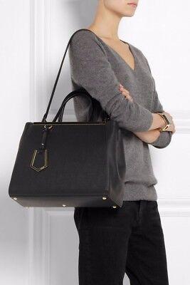 BRAND NEW Fendi 2Jours Handbag Black Leather Medium Size (Originally $2,350)
