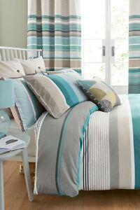 Next  Bold teal stripe bed set King size, Duvet cover & 2 Pillowcases