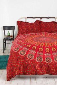 indian bordeaux mandala queen housse de couette housse hippie boh me couvre lit ebay. Black Bedroom Furniture Sets. Home Design Ideas