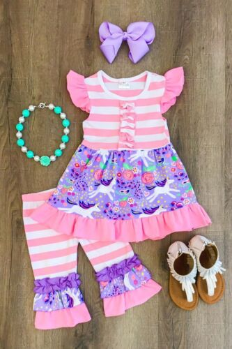 US Stock Unicorn Kids Baby Girls Outfits Clothes Dress Tops