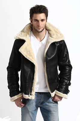 Mens Black Aviator WW II Piolet real sheepskin shearling leather jacket