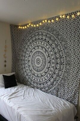 Black and White Mandala Tapestry Indian Wall Hanging Twin Hippie Elephant