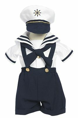 Toddler, Infant, Boy's Costume Sailor Outfit ,Navy Blue/White,Sz: Small to - Sailor Costume