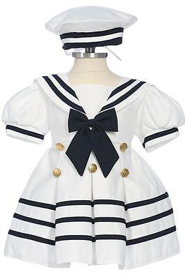 Infant, Toddler Girls Sailor Costumes Dress, White/ Navy, Sz: 6 month to 4T (Infant Sailor Costume)