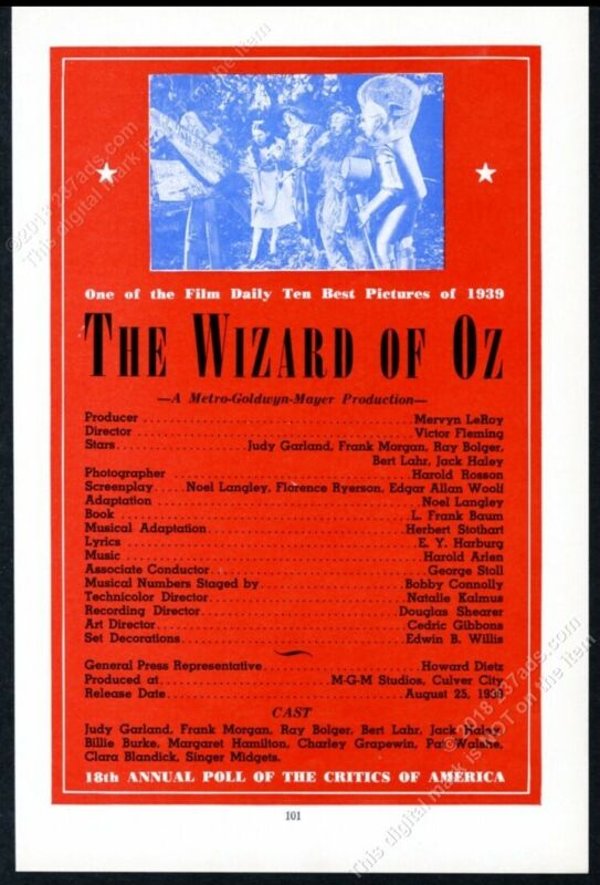 1940 The Wizard of Oz movie photo MGM vintage trade print ad