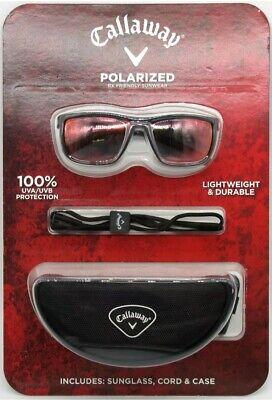 Callaway Men's Polarized Sunglasses with Strap & Case Golf Red Lens Black (Callaway Sun Glasses)