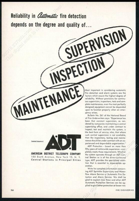 1953 ADT A.D.T fire detection service alarm vintage trade print ad