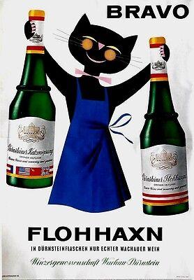 Original vintage poster FLOHHAXN WACHAU WINE CAT 1964