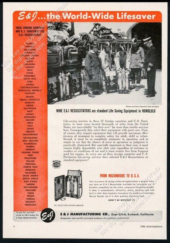 1953 Honolulu fire department firemen photo E&J Resuscitator vintage trade ad
