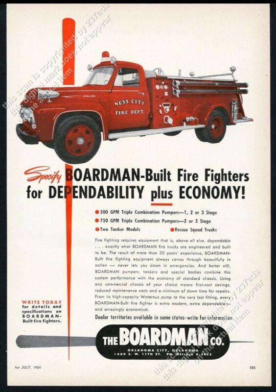 1954 Ness City Kansas F.D. Boardman fire engine truck photo vintage trade ad