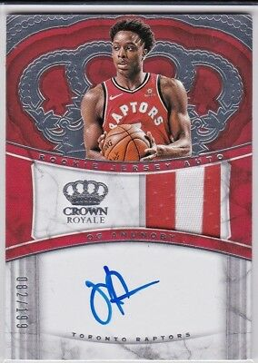 OG Anunoby Toronto Raptors 2017-18 Crown Royale Rookie Jersey Patch AUTO RC /199 image