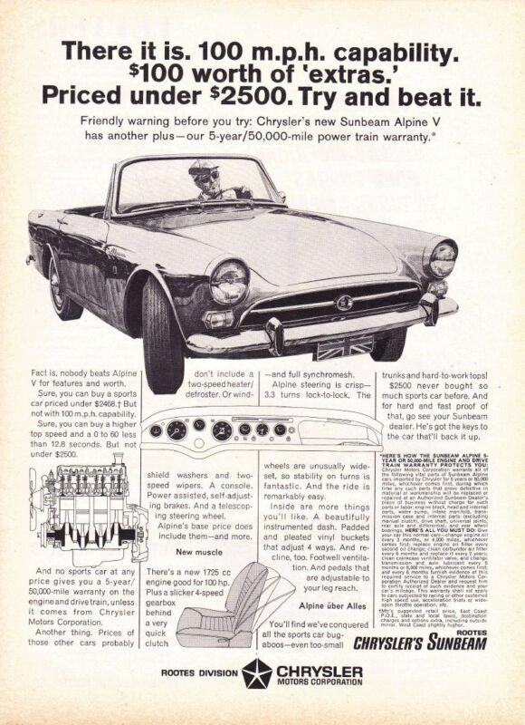 1966 SUNBEAM ALPINE V  ~  GREAT CLASSIC PRINT AD