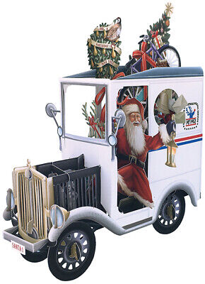 Santa and Mail Truck 3D Laser Cut Pop Up Christmas Card ()