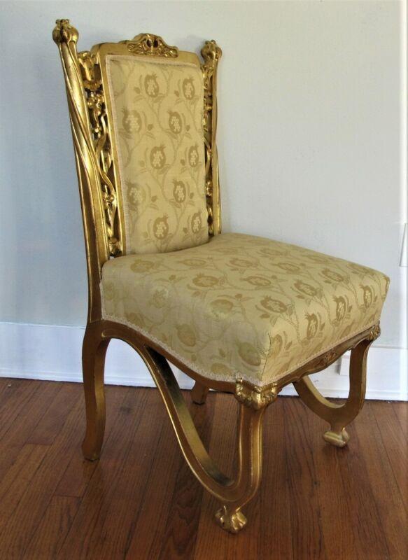 Gorgeous FRENCH ART NOUVEAU Carved Gilt Wood Chair  c. 1900   antique Deco