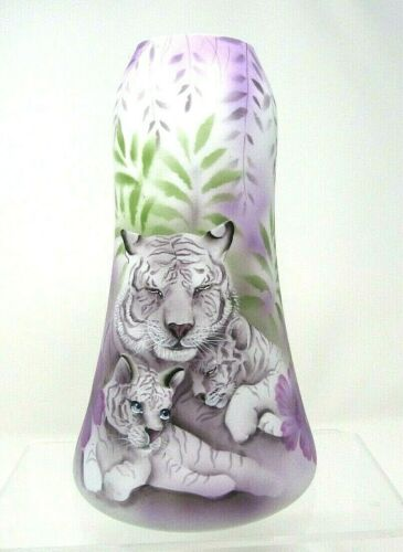 Fenton Art Glass OOAK Painted White Tigers on Cased Glass Vase by Robin Spindler