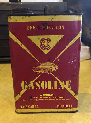 Jayes Can Co 1 Gallon Metal Gas Can One Illinois 1960 Oldsmobile Gasoline Gal