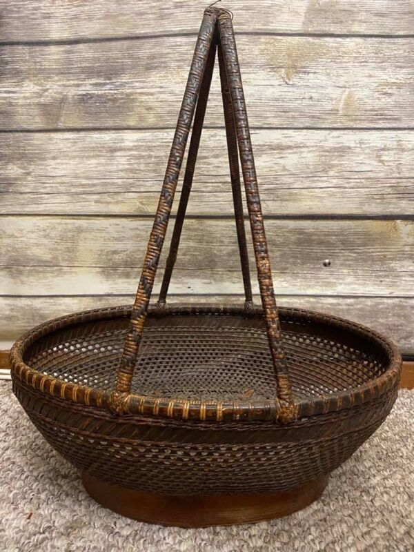 Antique Chinese Bamboo Basket High Handle Hand Made