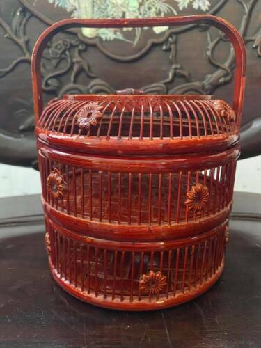"Chinese Bamboo Stacking Basket Mini 8"" with carved flower"