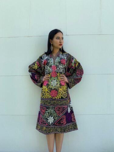 Multicolor Vintage Embroidery Uzbek Suzani Original Dress SALE WAS $150.00