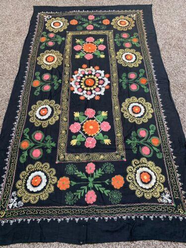 EMBROIDERY UZBEK VINTAGE BEST GIFT BLACK TABLECLOTH WALL HANGING SUZANI