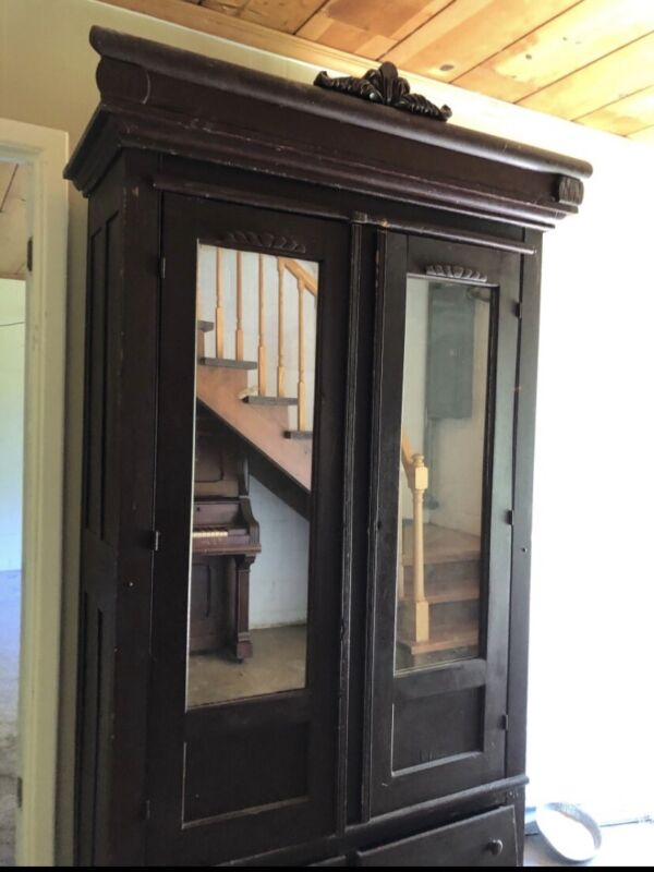 1920's Antique Ward Robe Armoire Mirrored Dresser HAND MADE Solid Wood