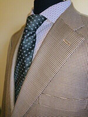 Stunning Brioni Chigi Wool Silk Blend Brown Houndstooth Sport Coat Sz 44 Italy