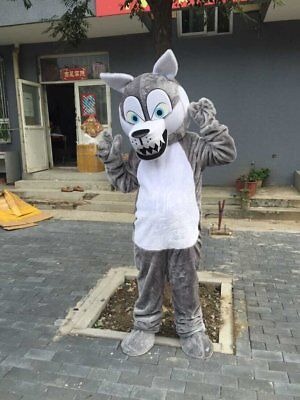 Grey Wolf Mascot Costumes For Adult Halloween Fox Outfit Fancy Dress Suit Parade - Fox Costumes For Halloween