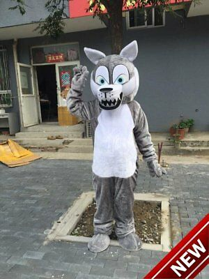 Cute Grey Wolf Mascot Costumes For Adults Halloween Outfit Fancy Dress Suit Gift](Cute Halloween Costumes For Adults)