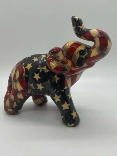 La Vie American Flag Elephant Ceramic Figurine Patriotic Colors USA - C1