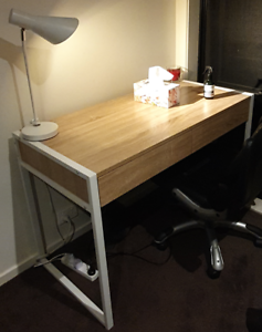 White and Oak 2 drawer desk with a lamp
