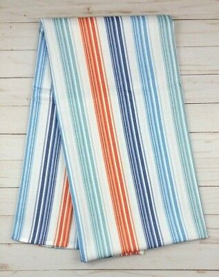 Fabric Tablecloth 52 x 70 Sydney Stripe White Teal Orange - Teal Tablecloth