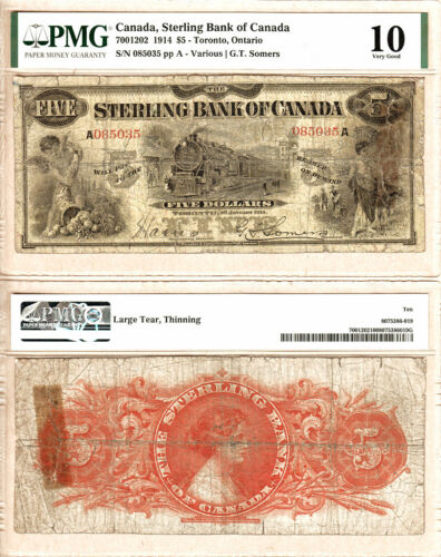 1914 $5 The Sterling Bank of Canada TRAIN NOTE CH#700-12-02  PMG VG10