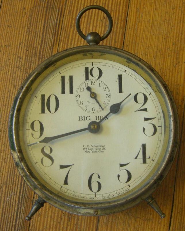 Antique Westclox Big Ben Patent Date Feb. 10, 1914 Alarm Clock- Not Working
