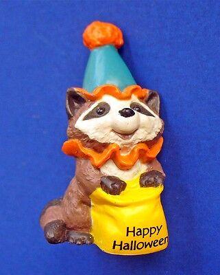 Hallmark MERRY MINIATURES Halloween Vtg RACCOON CLOWN MINI FIGURINE 1984 NEW - Hallmark Halloween Merry Miniatures