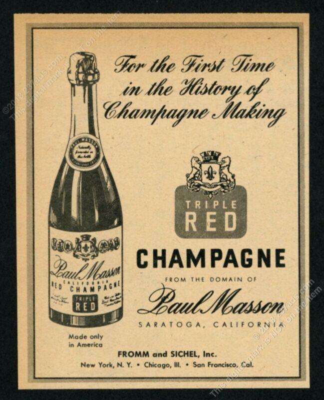 1951 Paul Masson Triple Red Champagne bottle art vintage print ad