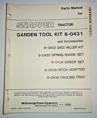 Snapper Tractor Garden Tool Kit Parts Catalog Manual book disk shank sweep hitch
