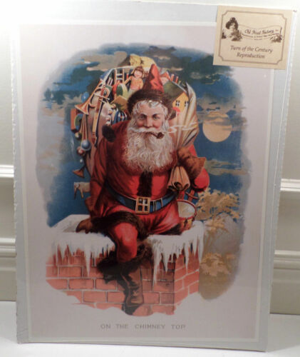 "Victorian Lithograph Print Picture ""Santa On The Chimney Top"" Christmas  12X16"