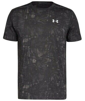 Mens New Under Armour Microthread Streaker T-Shirt Running Top Fitness Gym Grey