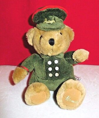 HARRODS Knightbridge London Stuffed Tan Teddy Bear in Soldier Green Outfit 6""