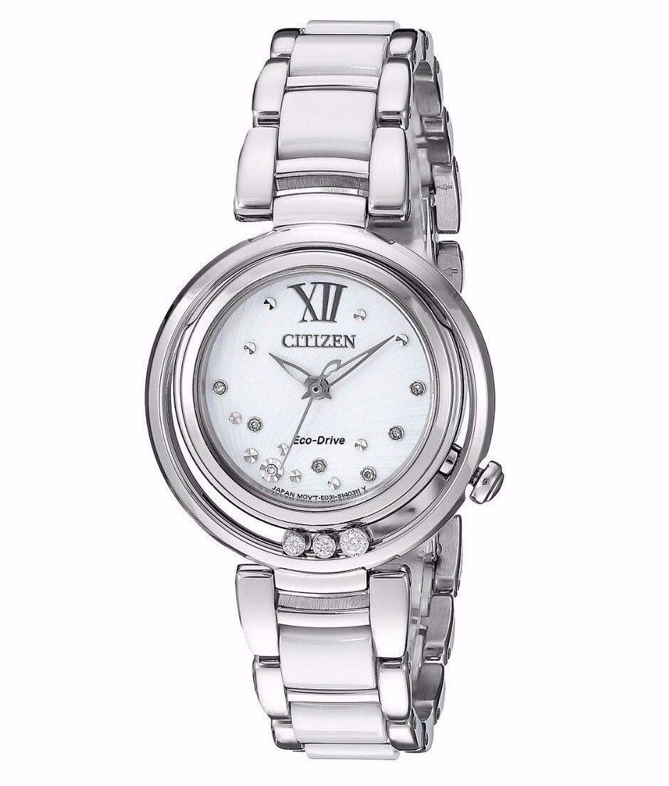 $224.99 - Citizen Women's EM0320-83A Sunrise Diamond Accents Silver Bracelet Dress Watch