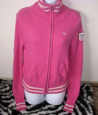 VICTORIA'S Geheim Pink Ski Patch Varsity Jacke Pullover Mantel Reißverschluss Varsity Jacke Patches