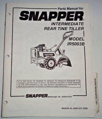 Snapper Ir5003b Rear Tine Tiller Parts Catalog Manual Book 1095