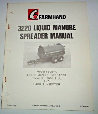 Farmhand 3220 Liquid Manure Spreader Operators Parts Manual Model F508-a
