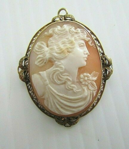ANTIQUE 10K GOLD CARVED SHELL CAMEO BROOCH PENDANT