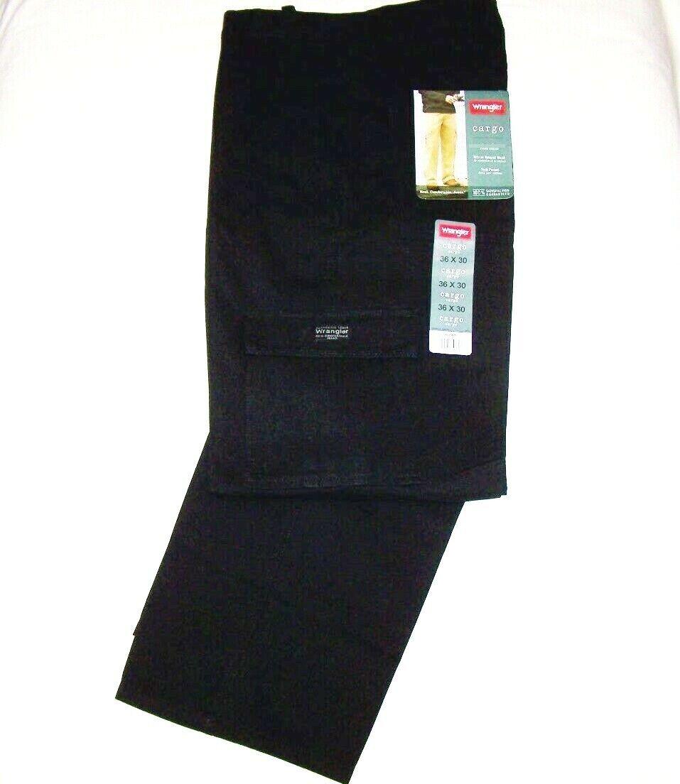Men's Wrangler Legacy Cargo Pants Black Relaxed Fit Tech Poc