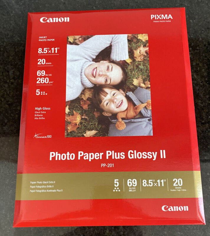 """CANON Photo Paper Plus Glossy II 8.5"""" x 11"""" 20 sheets New"""