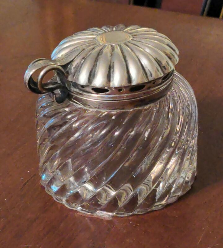 Antique Glass & Silverplate Inkwell Patent 1885